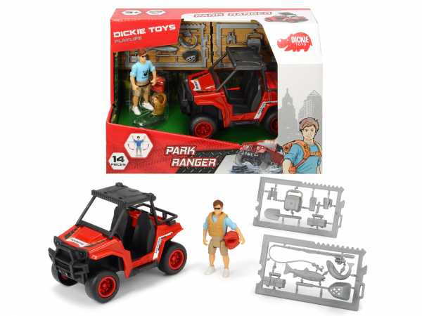 Dickie Toys- Playlife Park Ranger Playset Veicolo E Personaggio, Colore Rosso, 16 Cm, 203833005