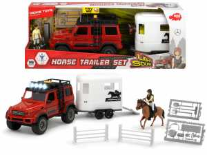 Dickie Playlife Horse Trailer Set Playset Veicolo E Personaggio, Colore Rosso, 40 Cm, 203838002