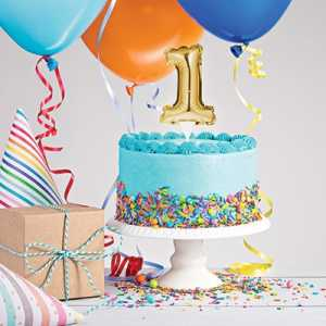 CAKE TOPPER ANNO 1 GOLD 23X9 CM - Bigiemme Srl (8c331857)