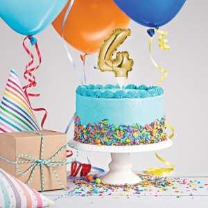 CAKE TOPPER ANNO 4 GOLD 23X9 CM - Bigiemme Srl (8c331860)