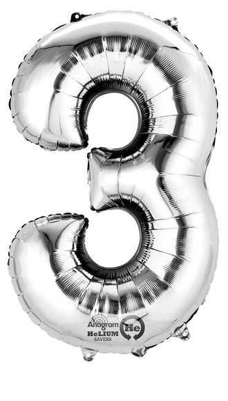 PALLONCINO NUMERALE FORMA ANNI 3 ARGENTO 40 CM - Bigiemme Srl (7a3308001)
