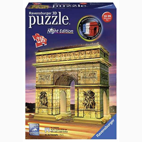 Ravensburger Italy Arco Di Trionfo Puzzle, 3D Building, Night Edition, 12522