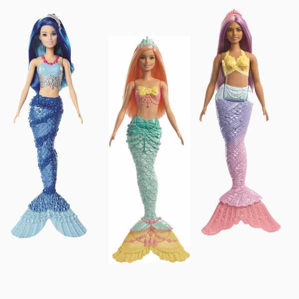 Barbie Dreamtopia Bambola Sirena Con Coda Arcobaleno E Capelli Corallo, FXT11