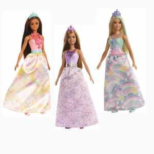 Barbie Dreamtopia Bambola Principessa Con Capelli Castani, Vestito Viola E Tiara, FXT15
