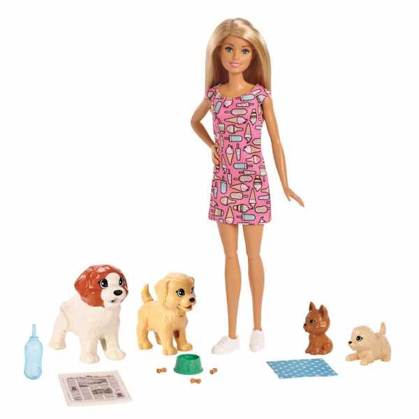 Barbie Veterinaria, Playset Con Bambola Bionda Clinica, 4 Cuccioli E Accessori,, FXH08