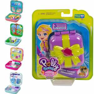 Polly Pocket Foresta Dei Giochi Nascondigli Segreti, Playset Con 3 Sorprese Da Svelare, 3 Accessori, 1 Bambola Micro E Sticker, GDK79