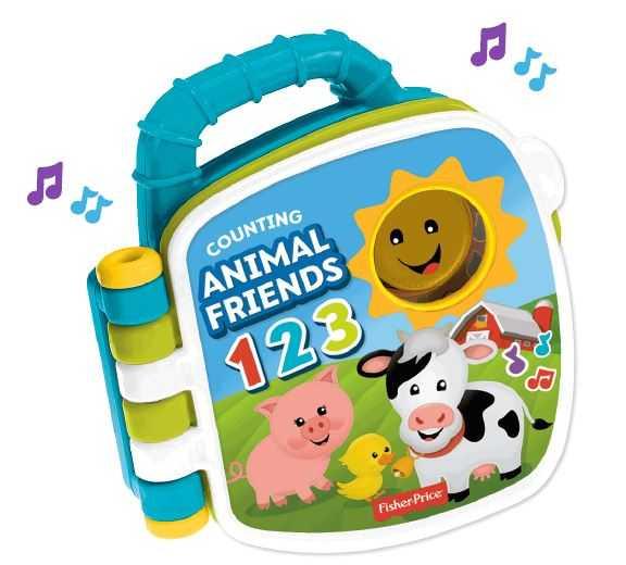Fisher-Price Libro Degli Animali 123, Giocattolo Per Bambini Di 6 + Mesi Per Imparare Parole, Lettere E Numeri, GFP34