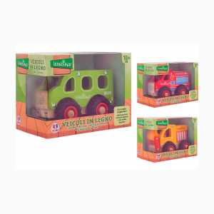 Globo, Wooden Vehicles 3 Asst (38996), Multicolore (1)