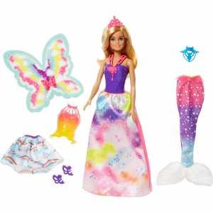 Barbie- Moda Da Favola Con Una Bambola E 3 Look Da Principessa, Fatina E Sirena, Multicolore, 0, FJD08