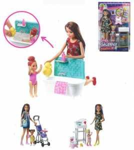 Barbie Babysitters Bebè E Passeggino Playset Con Bambola Skipper, Multicolore, FJB00