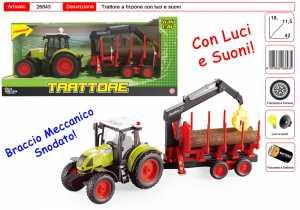 TRATTORE CON RIMORCHIO LEGNA LUCI SUONI CM 42 - Toys Garden (26843)