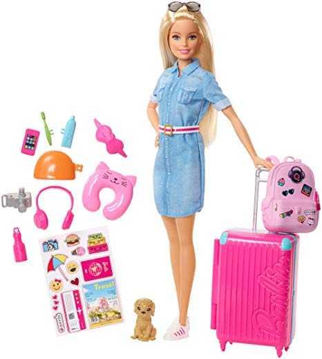 Barbie In Viaggio, Bambola Bionda Con Cucciolo, Valigia Che Si Apre, Adesivi E Accessori, Giocattolo Per Bambini 3 + Anni, FWV25