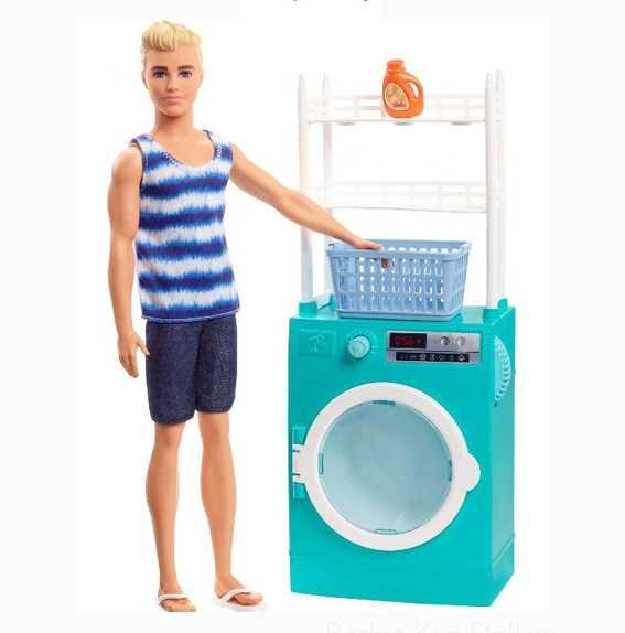 Barbie- Lavanderia Di Ken Bambola E Lavatrice/Asciugatrice Con Cestello Rotante E 2 Accessori, FYK52