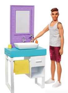 Barbie Playset Il Bagno Di Ken, Bambola Con Barba Che Appare E Scompare, Lavandino, Specchiera E 4 Accessori, FYK53