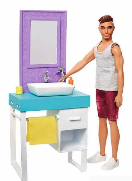 Barbie- Playset Il Bagno Di Ken, Bambola Con Barba Che Appare E Scompare, Lavandino, Specchiera E 4 Accessori, Multicolore, FYK53