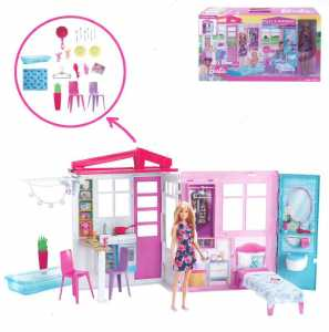 Barbie Casa Portatile Piccola Con Bambola Inclusa, Piscina E Accessori, FXG55