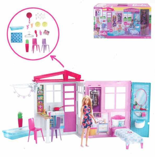 Barbie ?Loft Con Bambola, Casa A 1 Piano, Portatile Con Piscina E Accessori, Giocattolo Per Bambine Da 3 + Anni, FXG55
