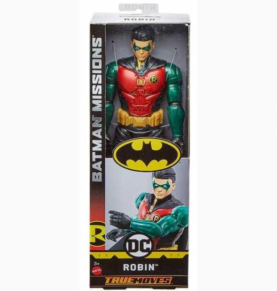 Mattel- Batman Robin Personaggio Articolato, Con 11 Punti Di Articolazione, Giocattolo Per Bambini 3 + Anni, Multicolore, 30 Cm, FVM71