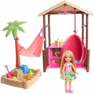 Barbie Bambola Chelsea Bionda, Playset Con Bungalow Sulla Spiaggia, Poltrona Sospesa, Amaca, Sabbia Modellabile, Formine E Accessori, Giocattolo Per Bambini 3 + Anni, FWV24