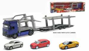 New Ray Iveco Stralis Camion Bisarca Twin Carrier Con 3 Auto Assortite