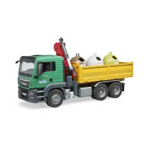 Bruder 3753 Man TGS-Camion Con Gru Di Carico E Contenitore In Vetro Anticato, Multicolore, 03753