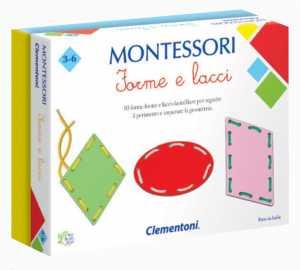 Clementoni-16102-Montessori-Forme E Lacci, Gioco Educativo, Multicolore, 16102