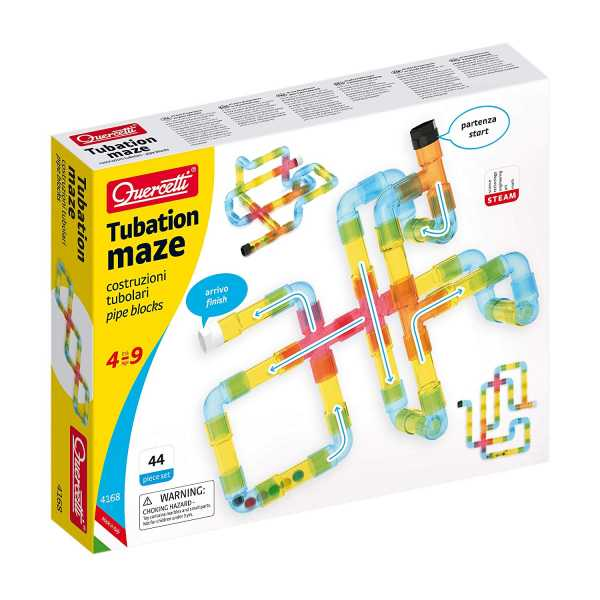 Quercetti 4168-Tubation Maze, Molti Colori All'Interno, 4168