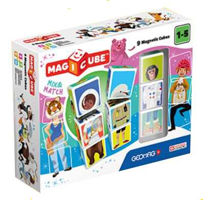 Geomag- Magicube Mix & Match Gioco Di Costruzione Magnetico, Multicolore, 9 Cubi, MAB16