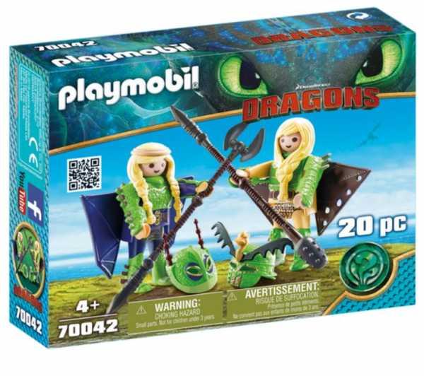 PLAYMOBIL DRAGONS III TESTABRUTA & TESTADITUFO CON TUTA DA VOLO (70042)