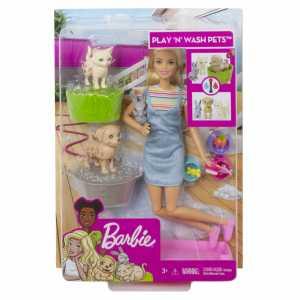 Barbie- Doll And Cambia, Playset Con Bambola E Due Cuccioli Che Cambiano Colore Con L'Acqua, Giocattolo Per Bambini 3+ Anni, FXH11