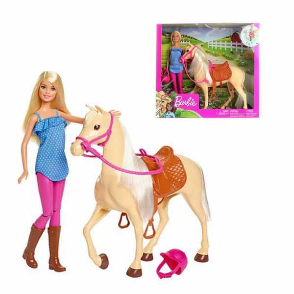 Barbie- Bambola Con Cavallo E Accessori, Giocattolo Per Bambini 3+ Anni, FXH13