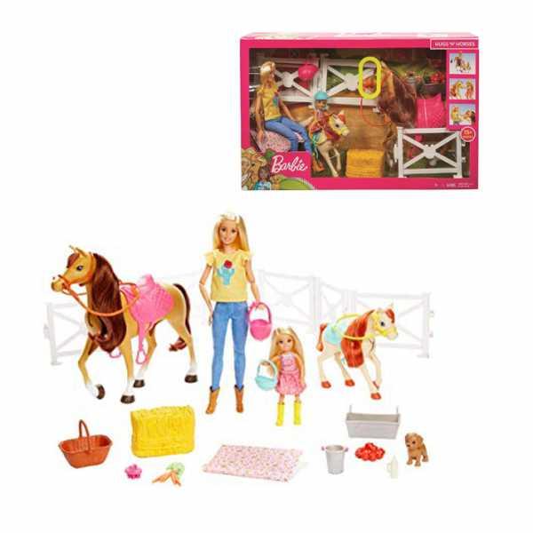 Barbie Ranch Di Barbie E Chelsea, Playset Giocattolo Con Due Bambole, Cavalli E Accessori, Per Bambini 3 + Anni, FXH15