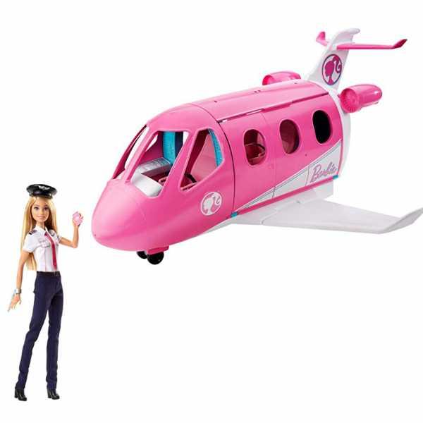 Barbie- Aereo Con Pilota, Playset Con Veicolo E Bambola Bionda Inclusa, Giocattolo Per Bambini 3+ Anni, GJB33