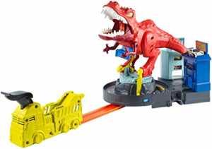 Hot Wheels Assalto Del T-Rex, PlaySet Con Lanciatore Per Macchinine, Giocattolo Per Bambini 4+ Anni, GFH88