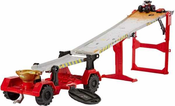 Hot Wheels- Monster Truck Pista Downhill Race & Go, Playset Con Due Veicoli E Accessori, Giocattolo Per Bambini 4+ Anni, GFR15
