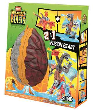 Mega Construx Breakout Beasts Con Slime, 2 Creature In Uno, Giocattolo Per Bambini 5+ Anni, GGJ66