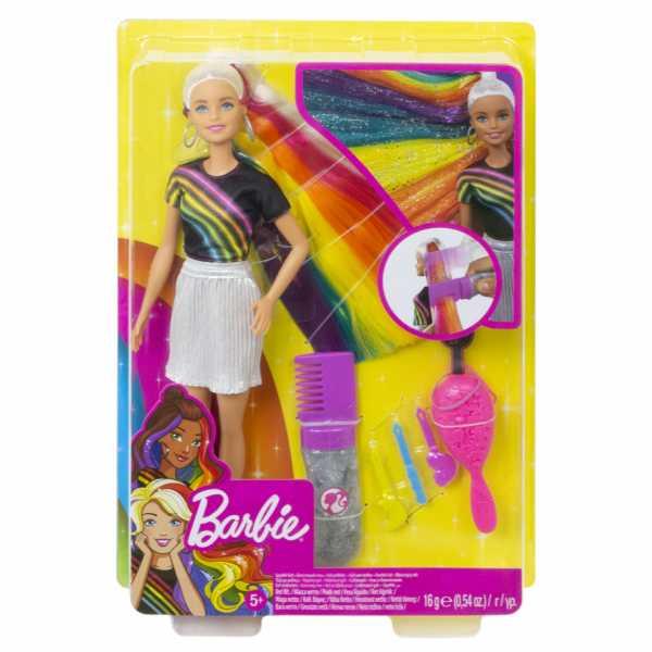 Barbie FXN96 Rainbow Sparkle Bambola Con Capelli Lunghi Arcobaleno E Tanti Accessori, 3 Anni+