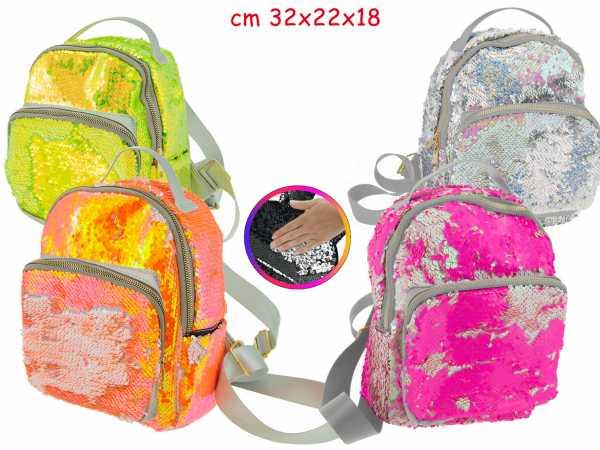 Teorema Miss Signorina - Zainetto Neon 4 Colori Con Pailettes Reversibili 23X25X11 Cm -