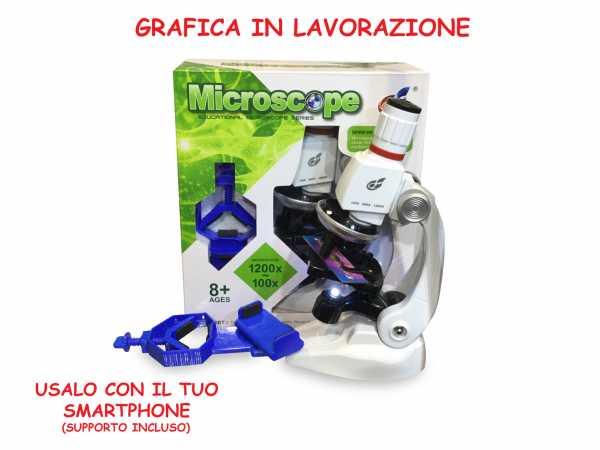 Teorema Plastiart - Microscopio Con Pinza Porta Cellulare 100X/1200X - Window Box