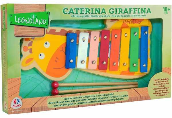 Globo - Wood Xilophone Giraffe W/2 Sticks (39103), Multicolore (1)