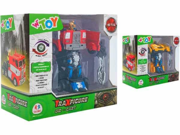 Globo Car/Truck Pull Back 2 Traxfigure Robot> Auto/Camion Die Cast Retroc 2 As Personaggi E Playset, Multicolore, 8014966391050