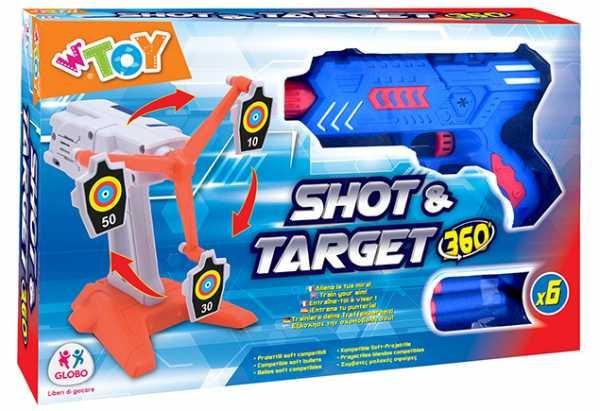 Globo- Pistola C/Bersaglio B/O C/6 Proiettili Soffici, Multicolore, 8014966394402