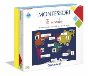 Clementoni-16210-Montessori-Il Mondo, Gioco Educativo, Multicolore, 16210