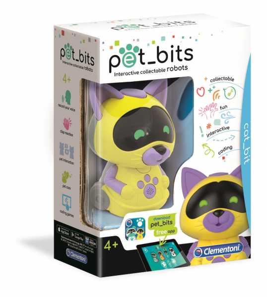 Clementoni- Cat Bit Sapientino Pet Bits Robot Educativo Collezionabile Coding, Multicolore, 12100
