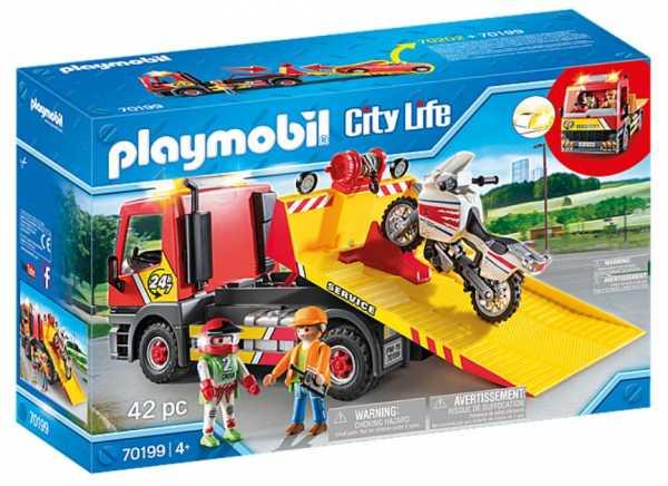 Playmobil- City Life Giocattolo Carro Attrezzi Con Moto, Multicolore, 42 Pezzi, 70199