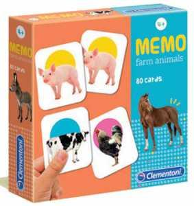 Clementoni - 18076 - Memo Games Farm Animals - Made In Italy - Memory - Gioco Di Memoria Bambino Dai 4 Anni - Gioco Da Tavolo Board Games, Italiano