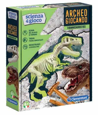 Clementoni- Archeogiocando T-Rex Luminoso Al Buio, Made In Italy, Dinosauro, Gioco Scientifico Per Bambini Dai 6 Anni, Laboratorio Di Scienza, Italiano, Multicolore, 19165