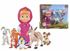 Simba- Mascha Der Bär Und Ihre Tierfreunde Masha Personaggio Cm.12 Con 5 Animaletti, Colore, 109301060