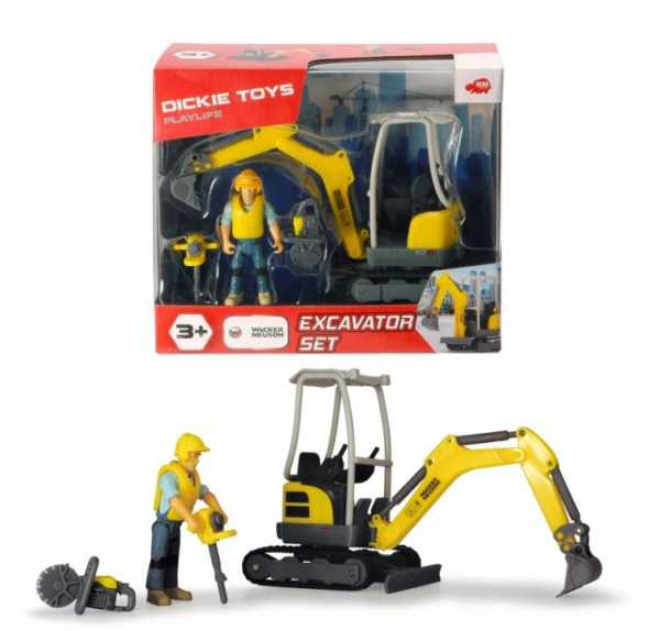 Simba Dickie Playlife Scavatore Wacker Neuson Con Personaggio E Accessori, In, Multicolore, 4006333061288