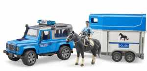 Bruder 02588 Land Rover Defender Veicolo Della Polizia,Rimorchio Cavalli, 1 Cavallo E Poliziotto
